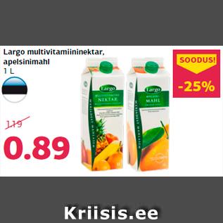 Allahindlus - Largo multivitamiininektar, apelsinimahl 1 L