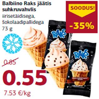 Allahindlus - Balbiino Raks jäätis suhkruvahvlis