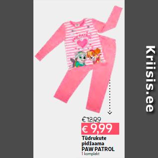 8f043e68221 Tüdrukute pidžaama PAW PAT - Allahindlus - Hüper Rimi - Kriisis.ee ...