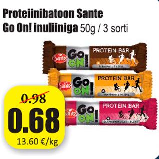 Allahindlus - Proteiinibatoon Sante Go On! inuliiniga