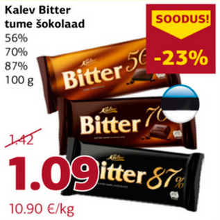 0ad47199eb9 Kalev Bitter tume šokolaad - Allahindlus - Comarket - Kriisis.ee ...