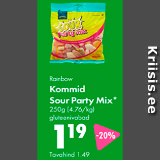Allahindlus - Rainbow Kommid Sour Party Mix* 250 g