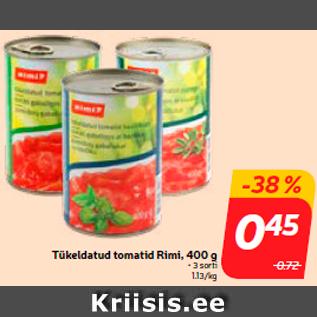 Скидка - Нарезанные помидоры Rimi, 400 г