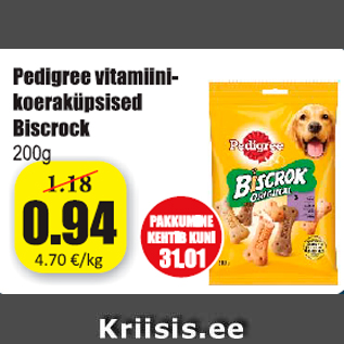 Allahindlus - Pedigree vitamiini-koeraküpsised Biscrock 200 g