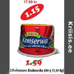 Allahindlus - Lihakonserv Krakowska 500 g