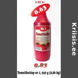 Allahindlus - Tomatiketšup nr1, 950 g