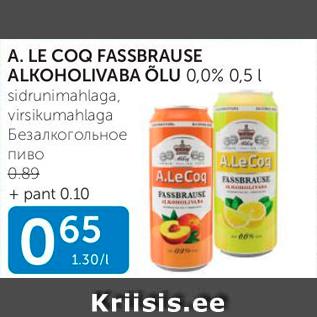 Allahindlus - A.LE COQ FASSBRAUSE ALKOHOLIVABA ÕLU 0,0%, 0,5 L