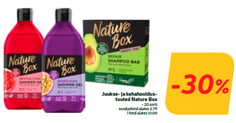 Juukse- ja kehahooldustooted Nature Box  -30%
