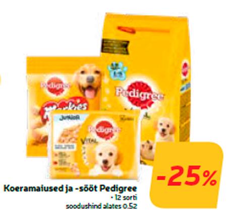 Koeramaiused ja -sööt Pedigree  -25%