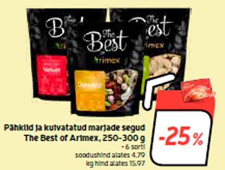 Pähklid ja kuivatatud marjade segud The Best of Arimex, 250-300 g  -25%