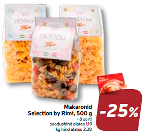 Makaronid Selection by Rimi, 500 g  -25%