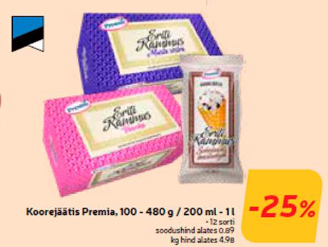 Koorejäätis Premia, 100 - 480 g / 200 ml - 1 l  -25%