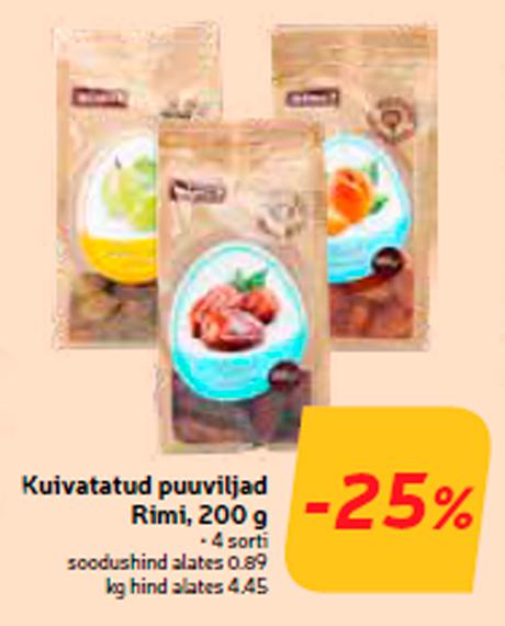 Kuivatatud puuviljad Rimi, 200 g  -25%