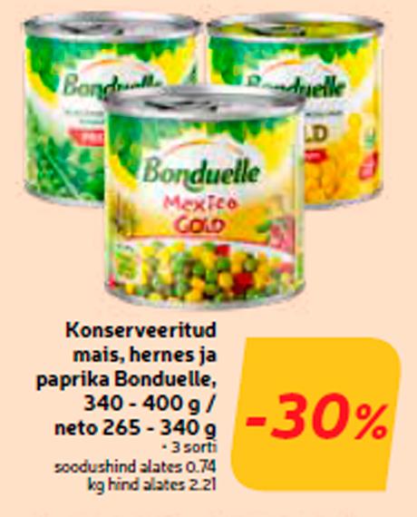 Консервированные кукуруза, горох и паприка Bonduelle, 340 - 400 г / нетто 265 - 340 г  -30%