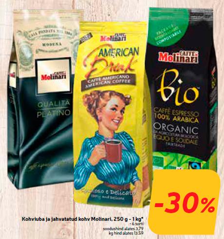 Кофе в зернах и молотый кофе Molinari, 250 г - 1 кг *  -30%