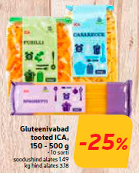 Gluteenivabad  tooted ICA, 150 - 500 g  -25%
