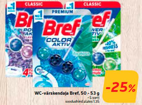 Освежитель для туалетов Bref, 50 - 53 г  -25%