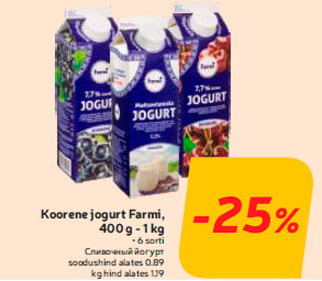 Koorene jogurt Farmi, 400 g - 1 kg  -25%