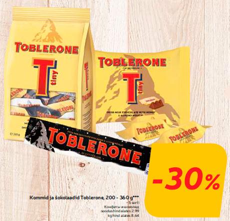 Kommid ja šokolaadid Toblerone, 200 - 360 g*** -30%