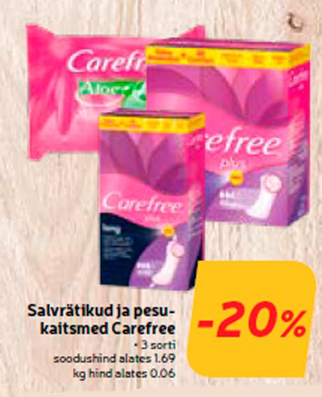 Salvrätikud ja pesukaitsmed Carefree -20%