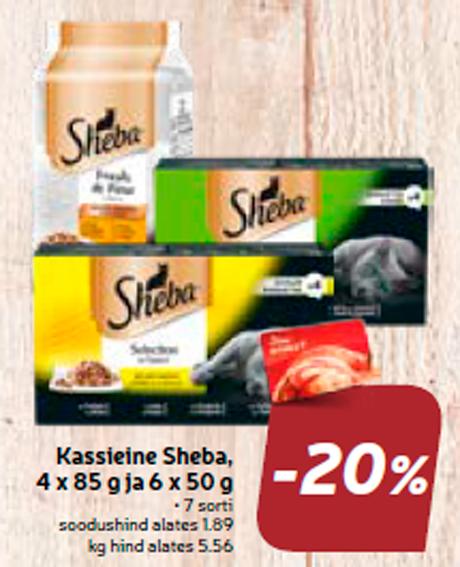 Kassieine Sheba, 4 x 85 g ja 6 x 50 g  -20%