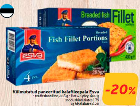 Külmutatud paneeritud kalafileepala Esva -20%