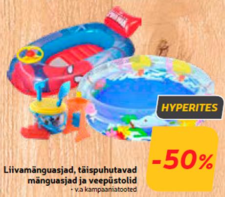 Liivamänguasjad, täispuhutavad mänguasjad ja veepüstolid  -50%
