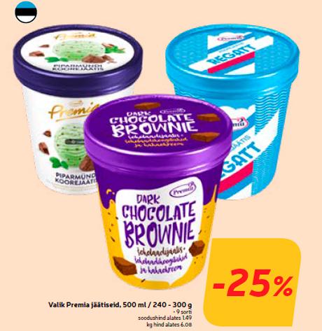 Valik Premia jäätiseid, 500 ml / 240 - 300 g  -25%