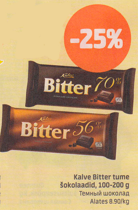 05b9cb7d771 Kalev Bitter tume šokolaadid, 100-200 g -25% - Kampaaniad ...
