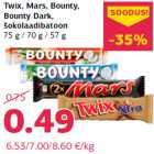 Allahindlus - Twix, Mars, Bounty, Bounty Dark, šokolaadibatoon