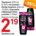 Šampoon (250 ml, 8,76/L) või palsam Elvital Arginine (200 ml, 10,95/L) hapratele, väljalangevatele juustele, L´Orèal