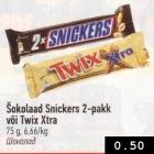 Allahindlus - Šokolaad Snickers või Twix Xtra