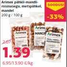 Arimex pähkli-mandlirosinasegu, metspähkel, mandel