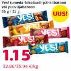 Allahindlus - Yes! tumeda šokolaadi-pähklibatoon või puuviljabatoon