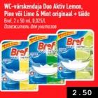 Allahindlus - WC-värskendaja Duo Aktiv Lemon, Pine või Lime & Mint originaal + täide
