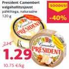 Allahindlus: President Camembert valgehallitusjuust