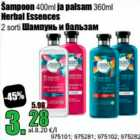 Allahindlus - Šampoon 400 ml ja palsam 360 ml Herbal Essences
