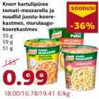 Магазин:Comarket,Скидка:Картофельное пюре томатно-моцарелла и лапша в сырно-сливочном соусе зеленый лук в сливочном соусе