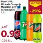 Allahindlus: Pepsi, 7UP, Miranda Orange ja Mountain Dew karastusjook 1,5 L