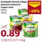 Allahindlus - Bonduelle herned, kidney punased aedoad ja magus mais 400 g 340 g
