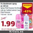 Fa deodorant spray ja roll-on