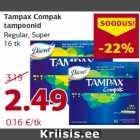 Allahindlus: Tampax Compak tampoonid